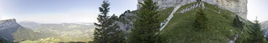 Above La Balme cave climbing to Granier