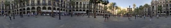 The big plaza Reial in downtown