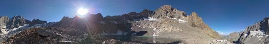 View on lake and refuge of Pav� at 2890 m